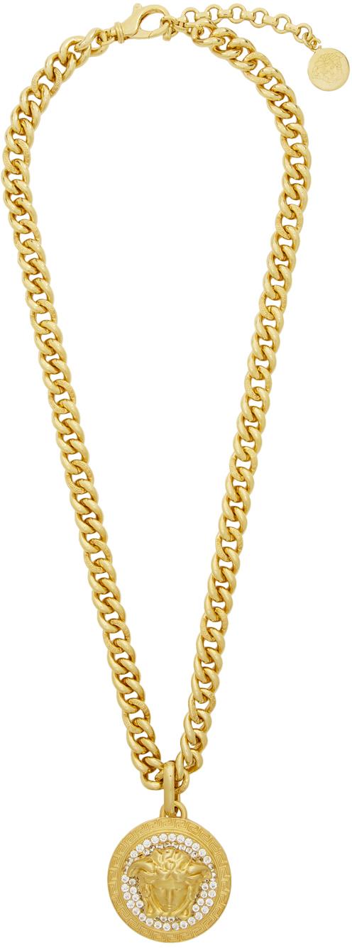 Versace Gold Crystal Medusa Necklace Ssense Canada Gold Crystal Necklace Versace Gold Versace Necklace
