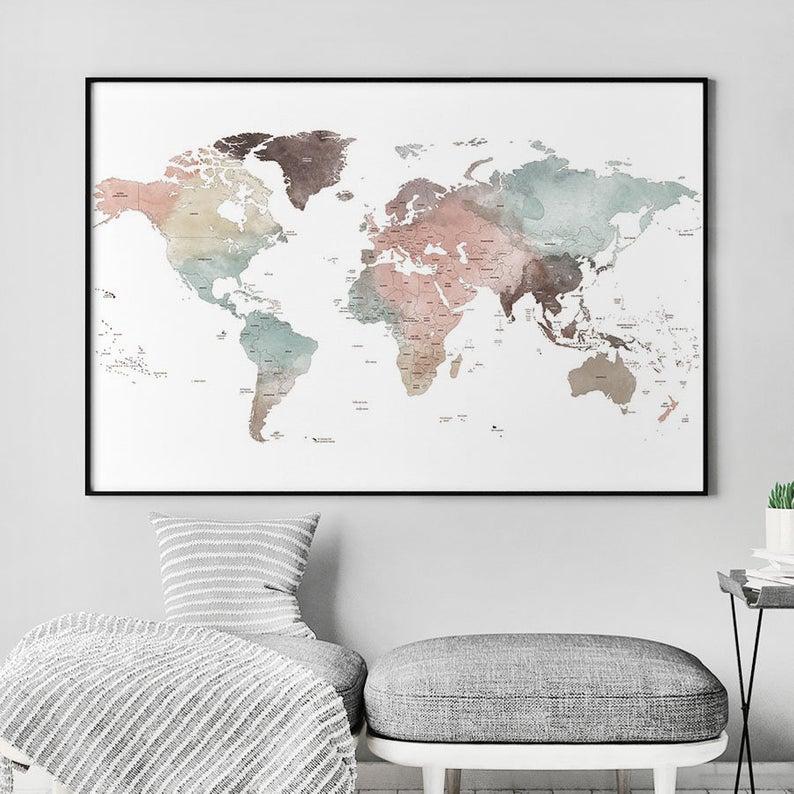 Detailed World Map World Map Poster World Map Wall Art Large