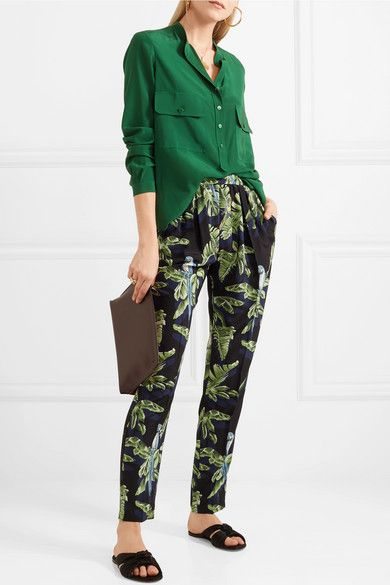 Sale Online Shopping Printed Silk Crepe De Chine Tapered Pants - Green Stella McCartney Cost IpUiD