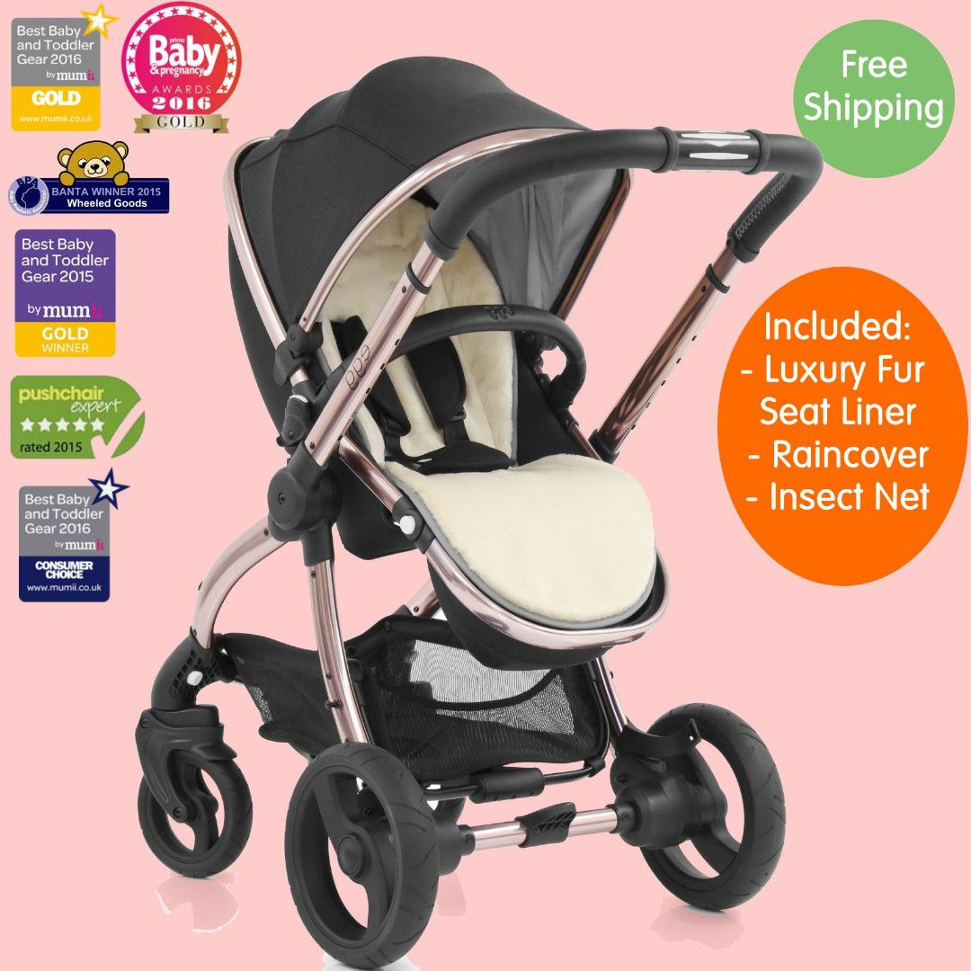 Egg Pram Gunmetal Egg Diamond Black On Rose Gold Chassis Stroller New 2019