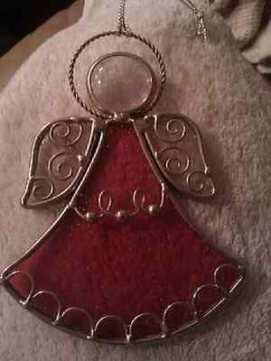 Vintage Stained Glass Red Angel Christmas Ornaments Very Nice Detailed | eBay