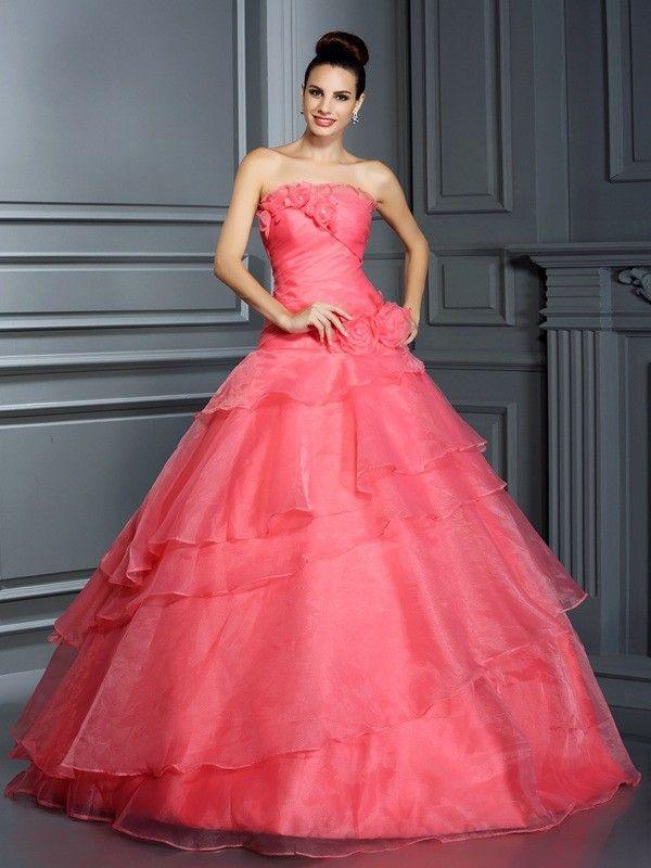 Ball Gown Strapless Hand-Made Flower Sleeveless Long Organza ...