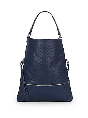 Perfortated Faux Leather Convertible Hobo