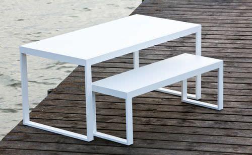 Conjunto de mesa y banco moderno / de metal / de jardín VITA Axthor ...