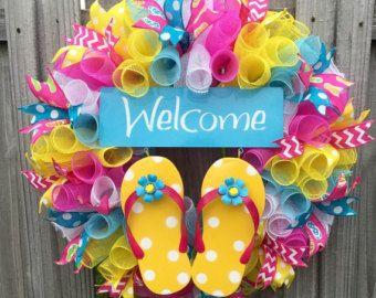 Summer Flip flop Wreath, Door hanger, Fun Summer Wreath, Flip flop decor, Front door wreath, Large door wreath