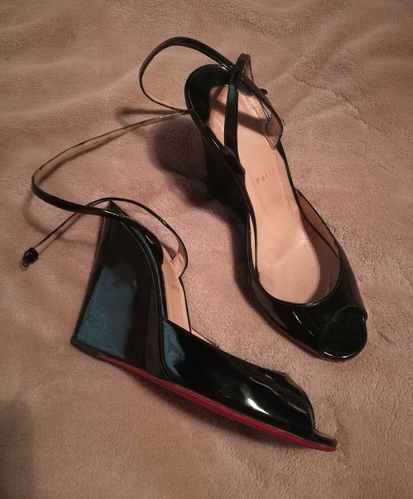 0d27787103fc Christian Louboutin 38 Size 8 Wedge Ankle Strap Black Patent  800  fashion   clothing