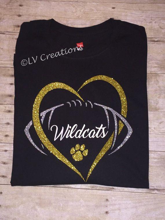 abe26a358 Personalized Football Heart Team Name Shirt Custom Tshirt Tee ...