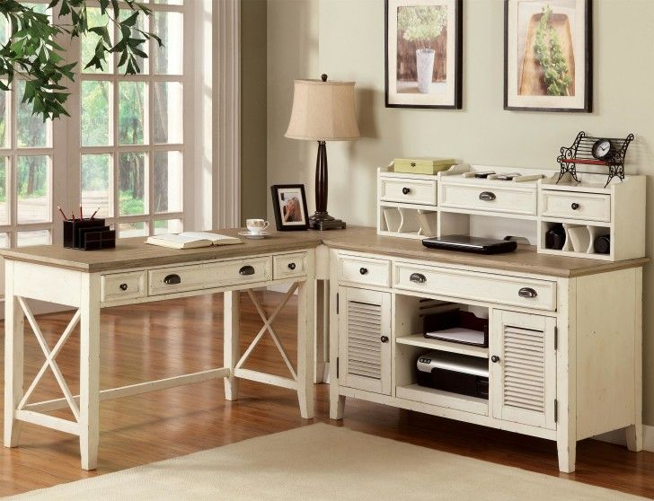 Furniture white wooden corner desk with drawers and shelves plus