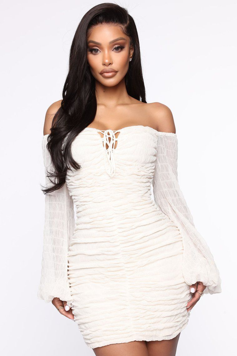 Misbehaved Ruched Mesh Mini Dress Ivory in 2020