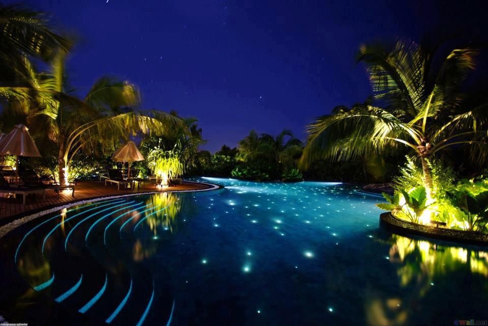 A beautiful pool under the stars at the Beach House at Iruveli, Maldives