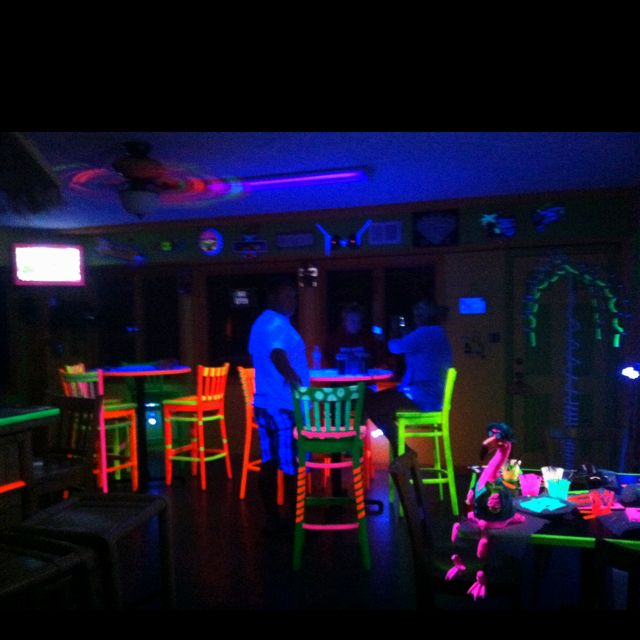Neon Tiki Bar Add Black Lights And Paint Decorations With Florescent Use Tape Anywhere Be Creative