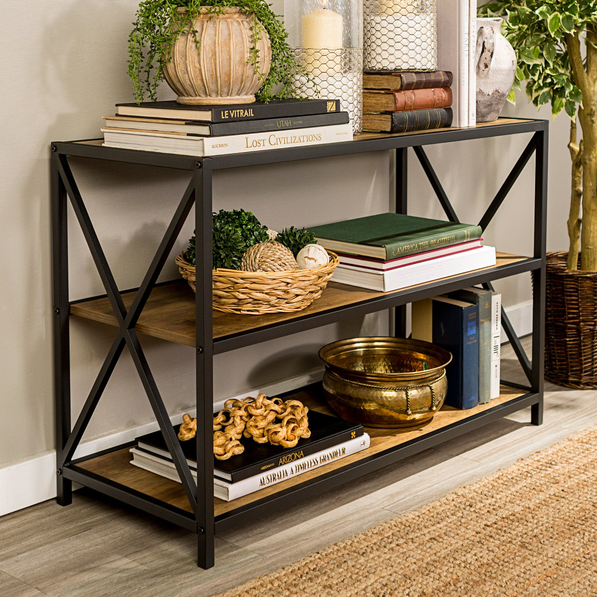 Small Homearchitecture: Rustic Oak X-Frame Metal And Wood Media Bookcase In 2020