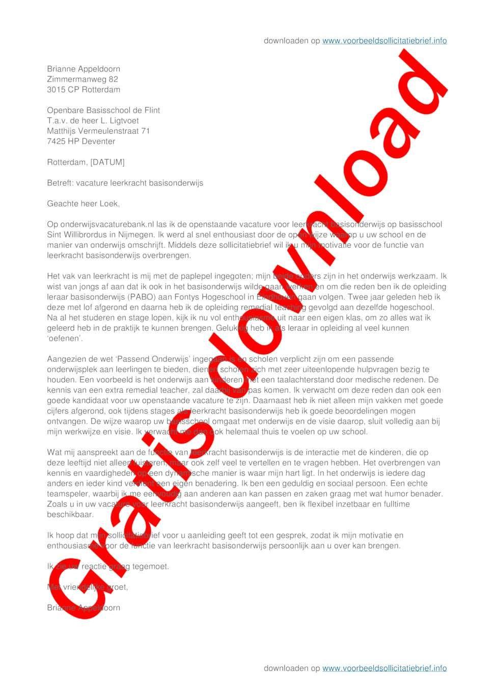 motivatiebrief leerkracht basisonderwijs sollicitatiebrief leerkracht basisonderwijs | sollicitatiebrief
