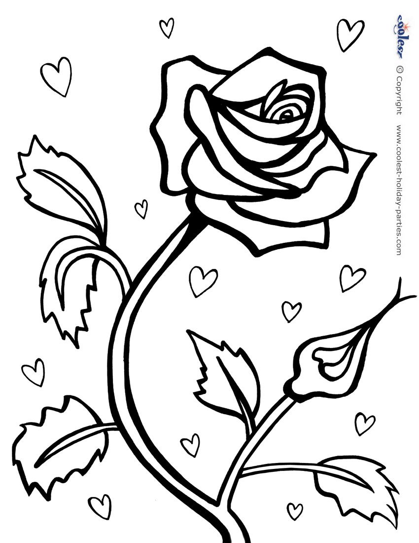 Printable Red Rose Coloring Page Flower Coloring Pages Heart