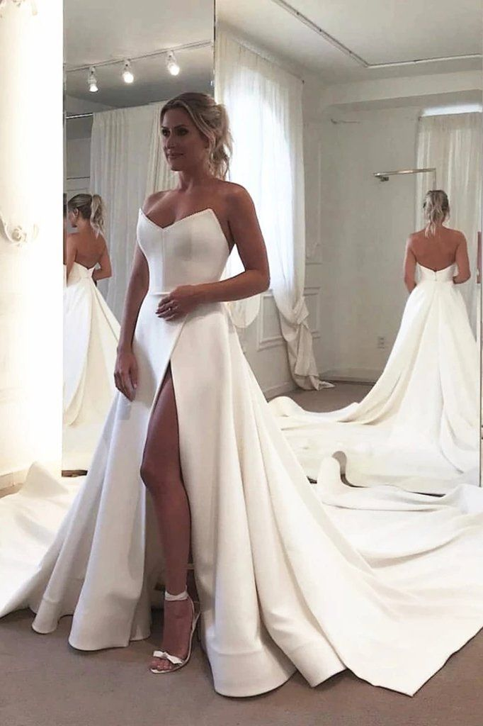 Strapless Bodice Corset Leg Slit Satin Wedding Dresses, Backless Long Bridal Dresses N1995