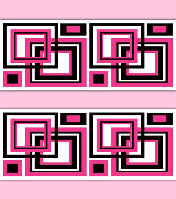Hot Pink Squares Abstract Wallpaper Border Wall Art Decals for teen ...