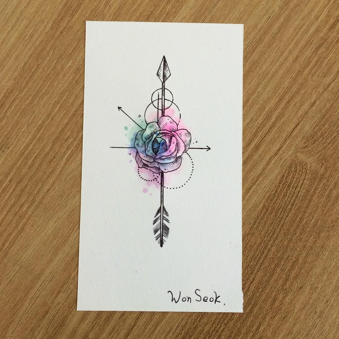 Rose&Arrow Tattoo Design By Wonseok (from Instagram
