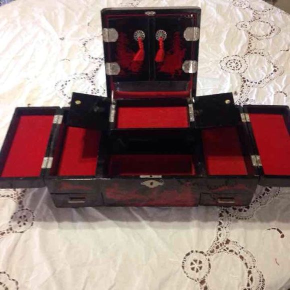 Antique jewelry music box Gorgeous antique Japanese wooden hand
