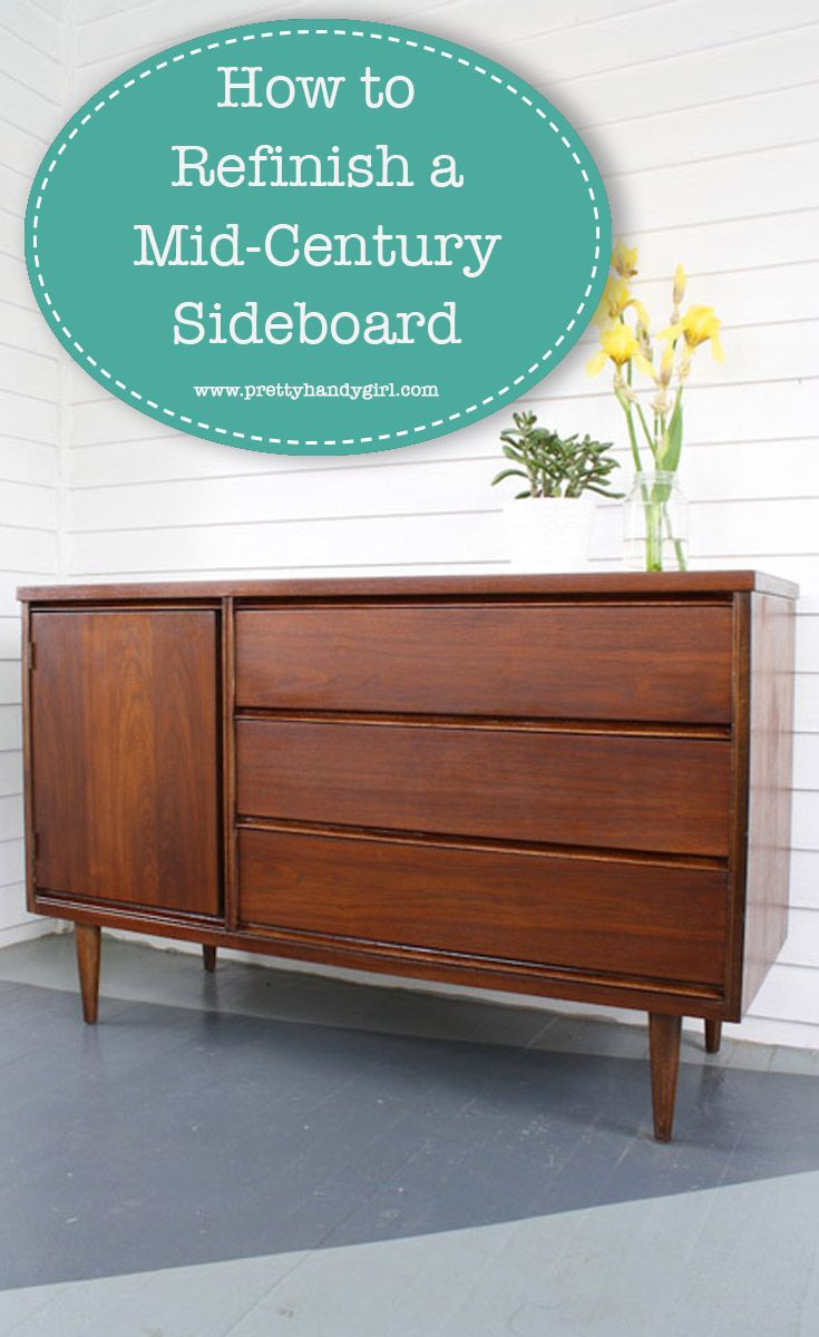 Bring new life to old furniture with this tutorial on how to refinish a mid-century sideboard!   How to refinish furniture   Pretty Handy Girl #prettyhandygirl #refinish #DIYfurniture #midcenturyfurniture #modernfurniture