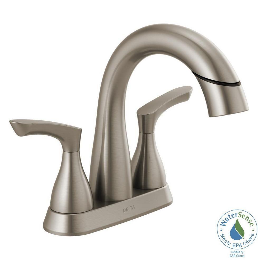 Delta Broadmoor 4 In Centerset 2 Handle Pull Down Spout Bathroom Faucet In Spotshield Brushed Nickel 25765lf Sppd Bathroom Faucets Bathroom Faucets Brushed Nickel Kitchen Faucet Repair