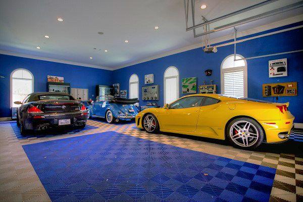 Cool Blue Garage Paint Design Ideas