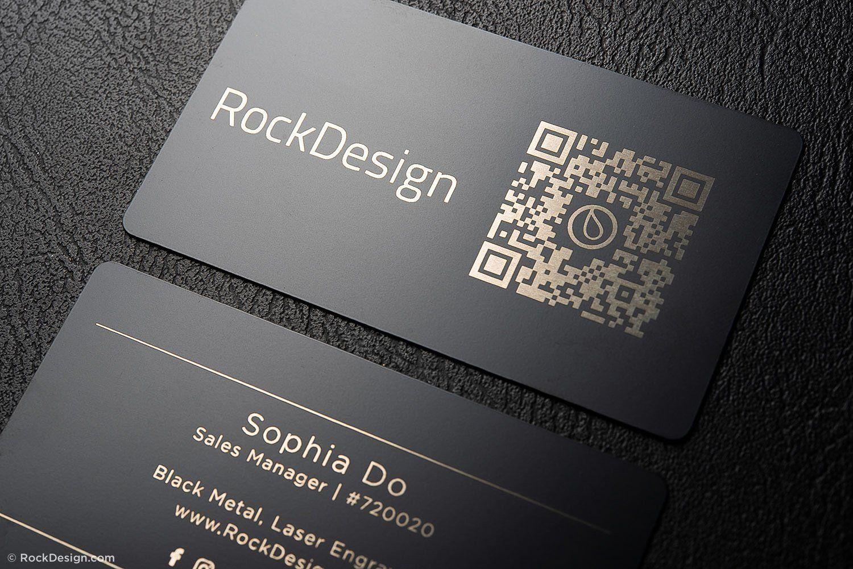Simple Black Metal Business Cards Sophia Do Regarding Qr Code Business Card Template Metal Business Cards Qr Code Business Card Event Planning Business Cards