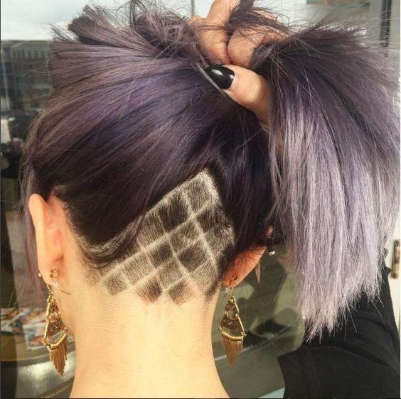 Checkered Lines Undercut Long Hair Undercut Hairstyles Undercut Hair Designs
