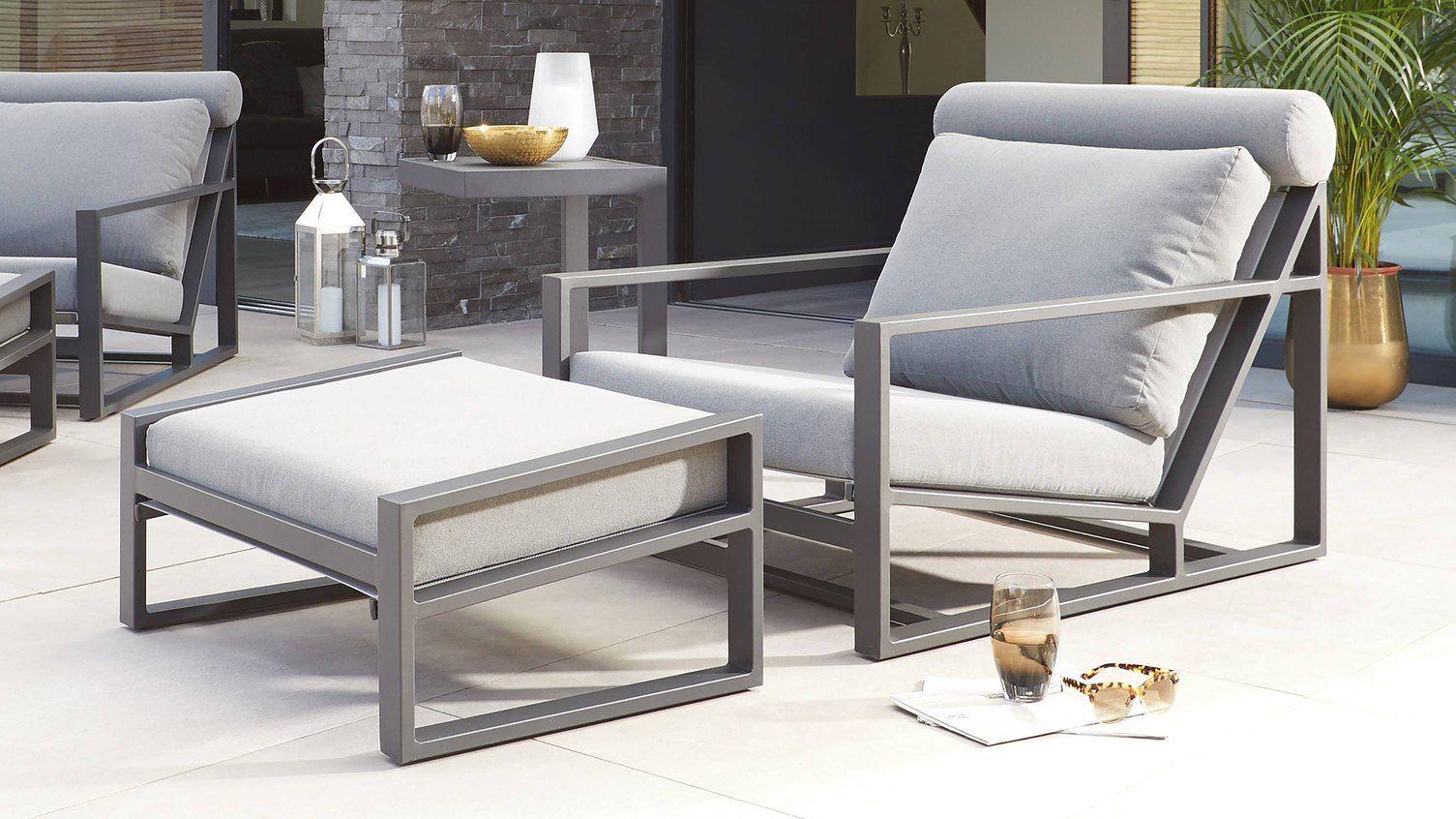 Verano Grey Garden Lounge Chair And Footstool Danetti Uk