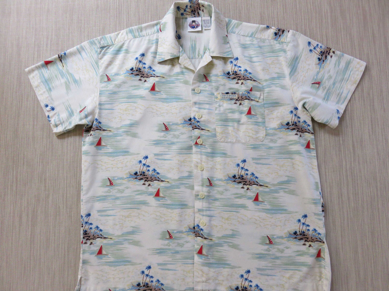 956414c5 BUBBA GUMP Hawaiian Shirt Lt. Dan's Aloha Gear Tropical Island Sailboats  Official Bubba Gump Shrimp Co. Mens - L - Oahu Lew's Shirt Shack by ...