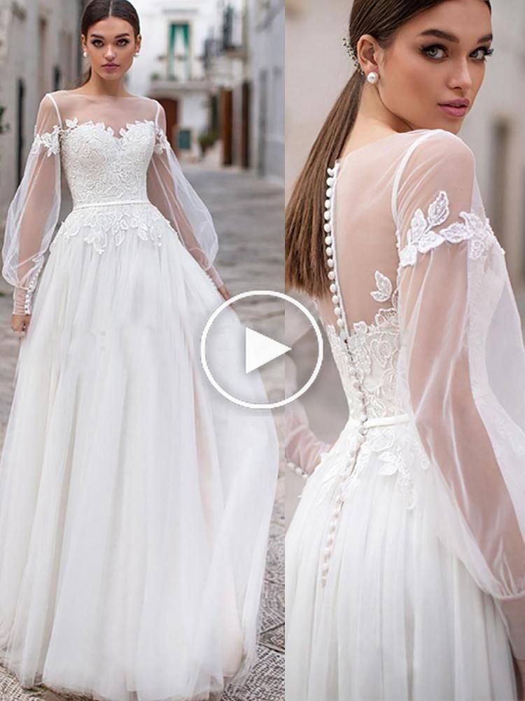 Beach Wedding Dresses 2019 Lace Appliques Puff Long Sleeves Bridal Wedding Gowns Backless Floor In 2020 Target Bridesmaid Dresses Bridal Dresses Wedding Gown Backless