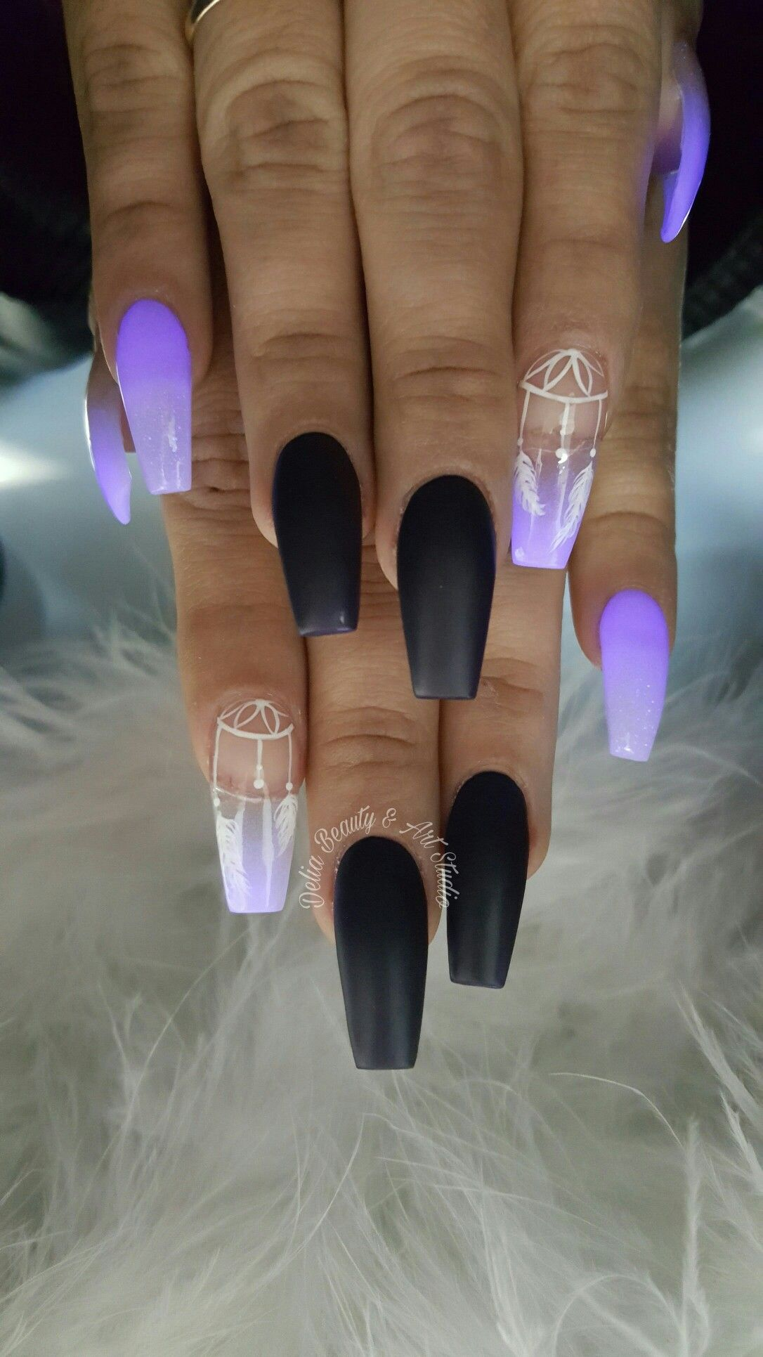 Purple Glow In The Dark Glow Nails Dark Purple Nails Dark Nail Designs