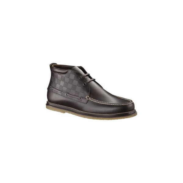 Nevada High Derby In Damier Embossed Leather ($960) ❤ liked on Polyvore featuring shoes, men, print shoes, sperry top-sider shoes, pattern leather shoes, deck shoes and structure shoes