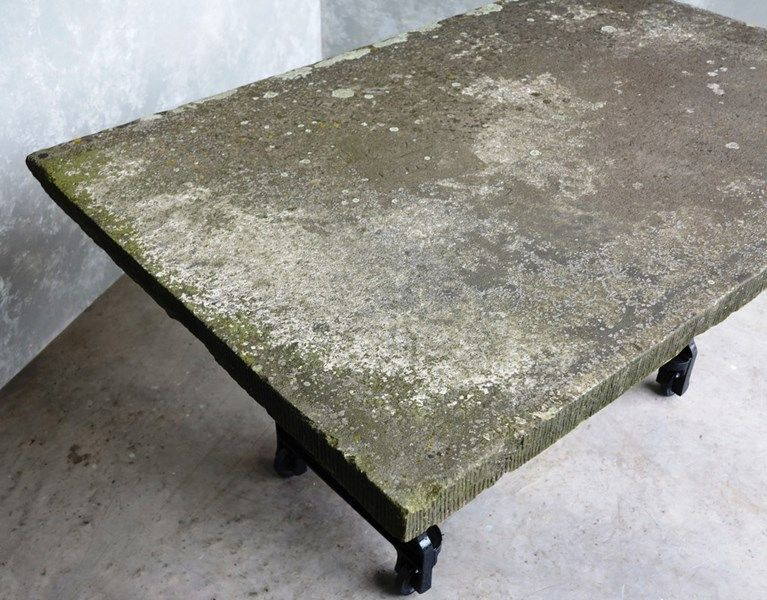 Antique Stone Garden Table Top on Cast Iron Base is part of garden Table Stone - This table is made from reclaimed York stone on a salvaged cast iron base