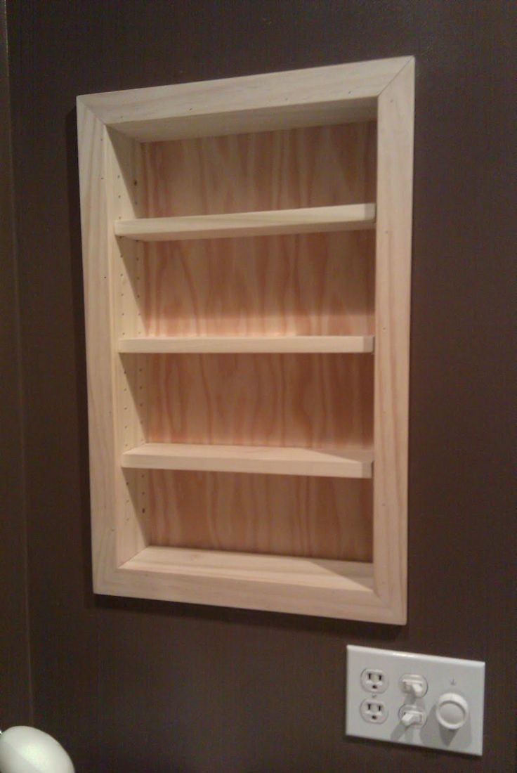 Build a storage shelf in the wall save counter space shelves recessed shelf bathroom storage install a recessed shelf between wall studs to make use of amipublicfo Image collections