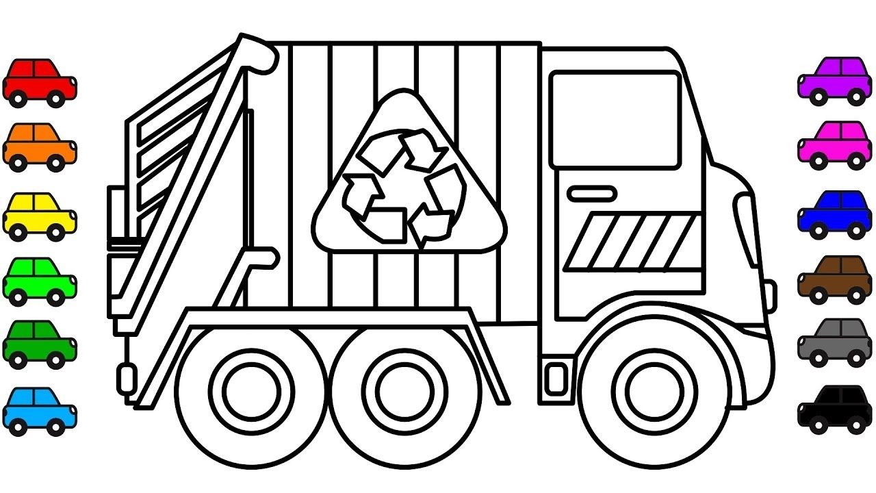 Garbage Truck Coloring Book Pages For Kids Learn Colors Vehicles Colour Coloring Books Cars Coloring Pages Coloring Pages For Kids