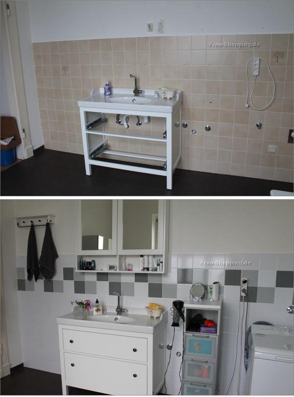 Mein Badezimmer   vorher Nachher   Fliesen streichen vorher nachher, Badezimmer, Fliesen streichen