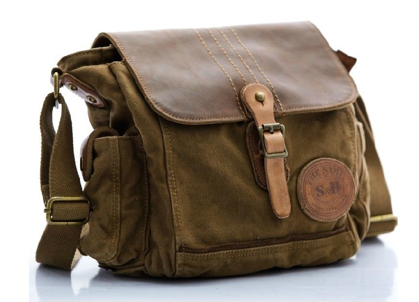 Men's Canvas and Leather Messenger Bag Click Here to Shop Quality ...