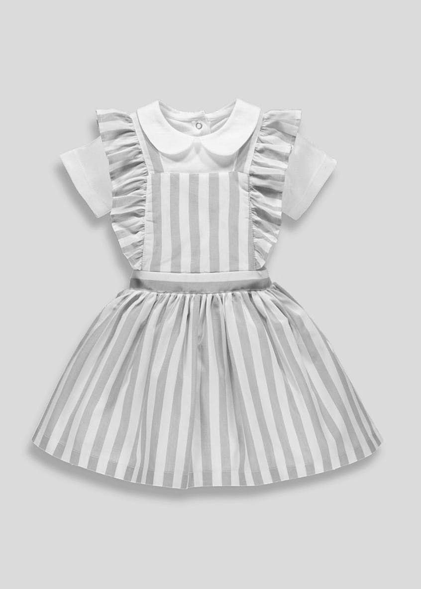 13233f19177e Girls Stripe Pinafore Dress & Bodysuit Set (Newborn-18mths) – Grey ...