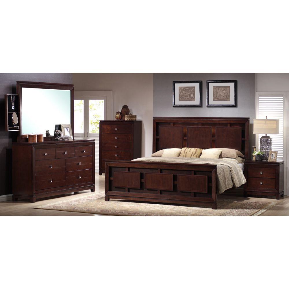 Lorrand 5-piece Cherry Finish Bedroom Set