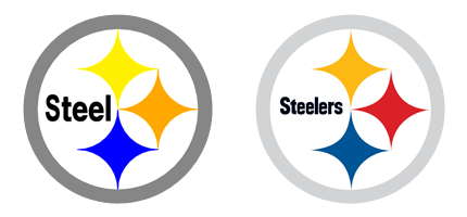 the steelers logo is based on the steelmark logo belonging to the rh pinterest com steelers logos images steelers logos pics