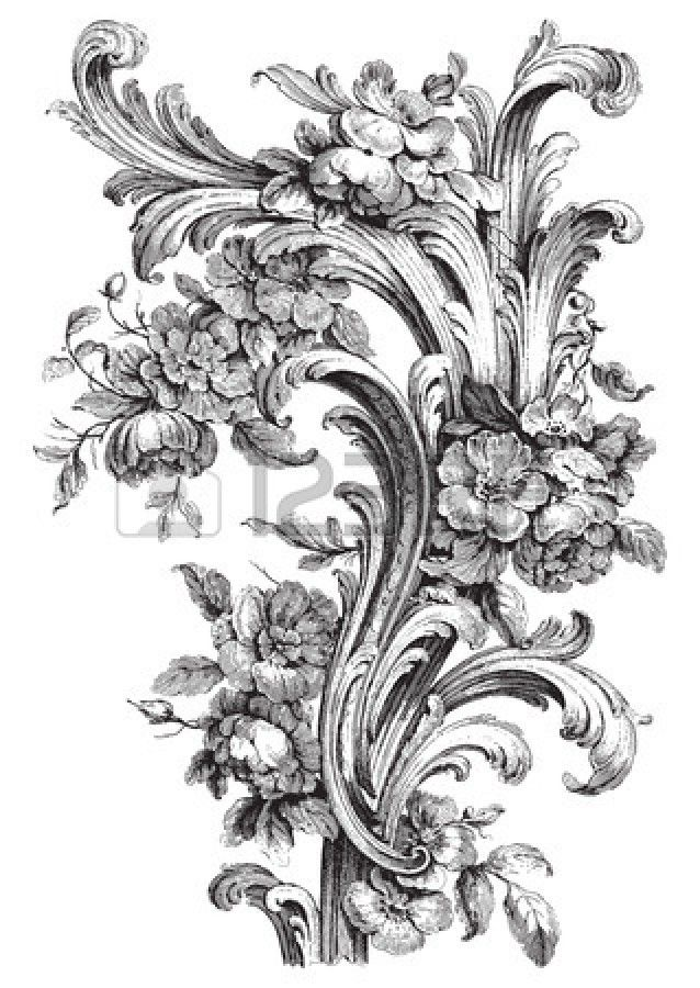 ancient floral scroll engraving with peonies and acanthus designs engin korkmaz vintage. Black Bedroom Furniture Sets. Home Design Ideas