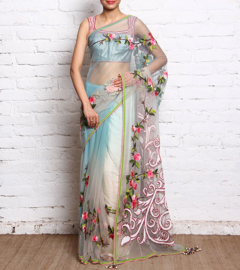 Ombre blue net saree with embroidered florals u blouse indian
