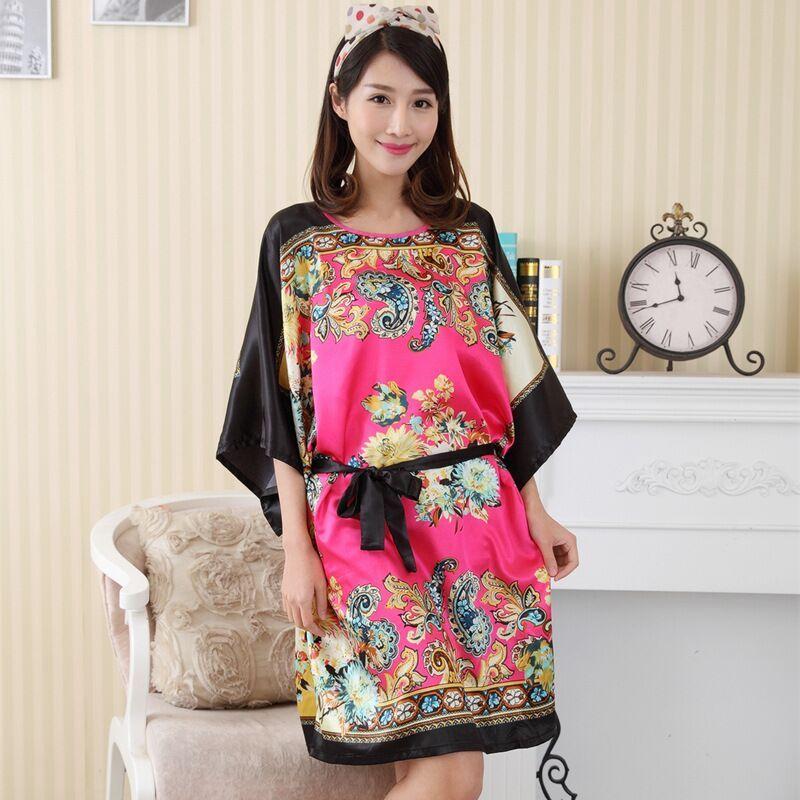 4943721891 Plus Size Women s Faux Silk Robe Bath Gown Nightgown Summer Sleepshirts New  Style Sleep Tops Sleepwear