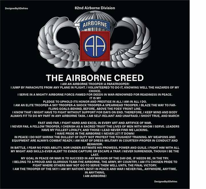 The Airborne Creed Military 82nd Airborne Division Military