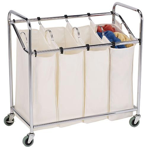 Four Bag Commercial Laundry Sorter Chrome Has Heavy Casters And