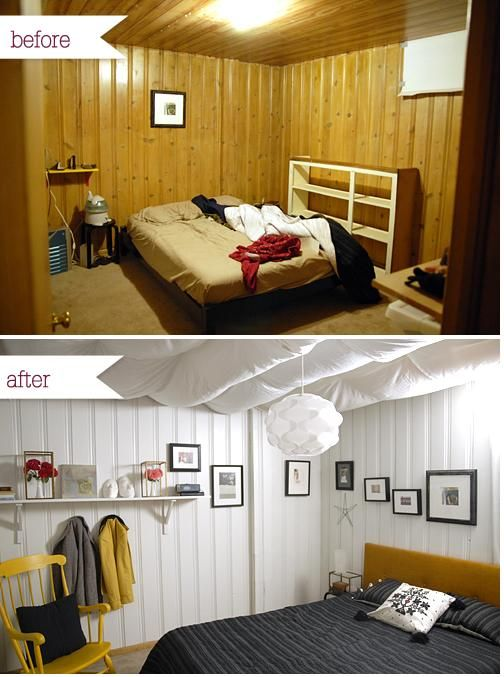 Awesome Before and After via I Still Love You. Wood Paneling MakeoverPaint  ... - Cover Wood Paneling More Cover Wood Paneling And Wood Paneling Ideas