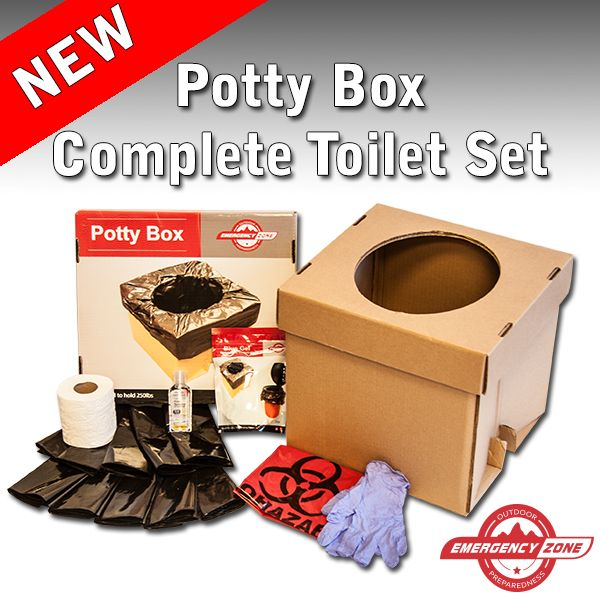The Potty Box is perfect for those times when space is limited and a honey bucket is not an option. It is strong enough to hold 250 lbs. Folds down to store under your bed and in your car for emergencies.   Now available at www.emergencyzone.com!