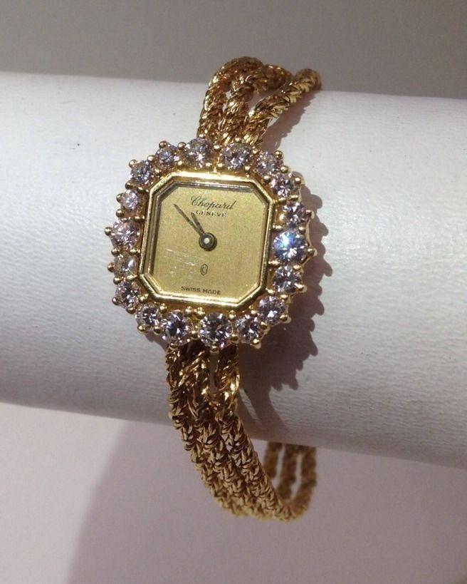 Montre pour femme : Vintage Chopard Geneve 18kt Solid Gold Diamonds Ladies Quartz Wrist Watch Womens #vintagewatches