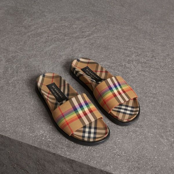 1df18c6c440 Burberry Rainbow Vintage Check Slides (420 CHF) ❤ liked on Polyvore  featuring shoes
