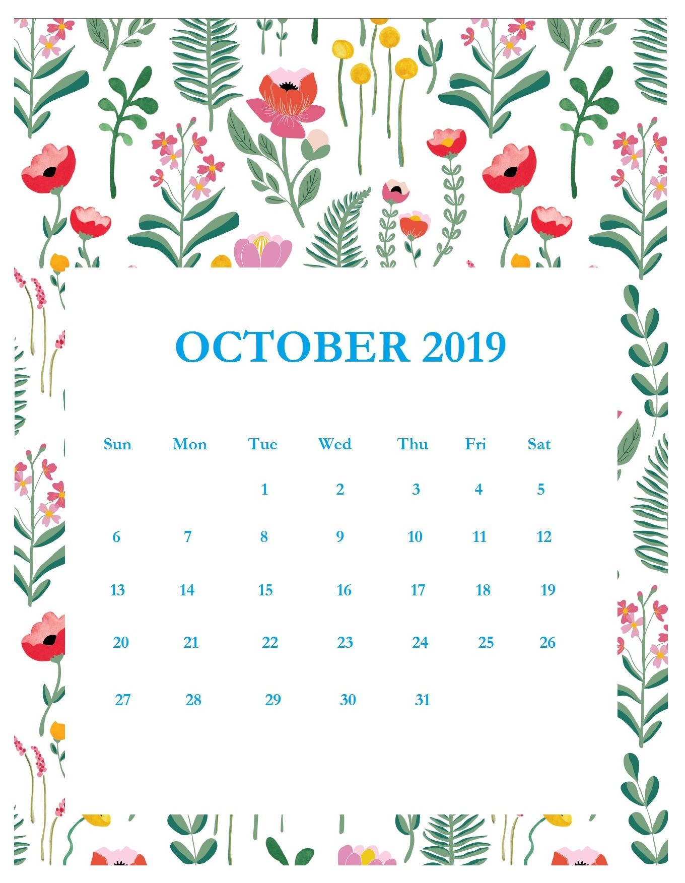 graphic relating to Free Printable Advent Calendar Template identify Print Desirable Oct 2019 Calendar Template filofax